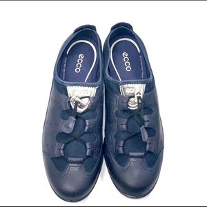 Navy Ecco Leather Bungee Slip-on Shoes